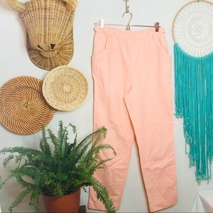 vsco 90s High Waisted elastic peach linen pants